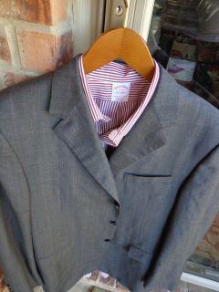 Hickey Freeman 3 Btn Gray Wool Mens Blazer Jacket Sport Suit Coat 44R