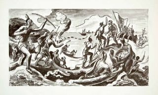 Thomas Hart Benton Study Jacques Cartier Mural St. Lawrence River Art