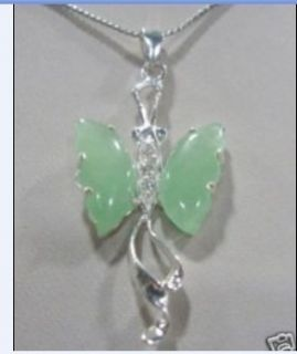Silver Plate Green Jade Crystal Butterfly Pendant Necklace