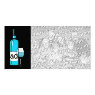 60th birthday or anniversary  wine bottle & glass personalized photo