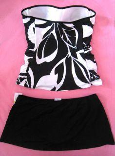 Black White Bandeau Skirted Skirt Tankini Swimsuit Swimwear Bathing