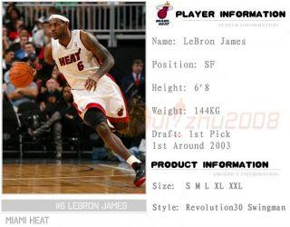 NBA Rev 30 Lebron James Miami Heat 6 Swingman Jersey