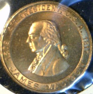 James Madison US MINT VER #2 Commemorative Bronze Medal   Token   Coin