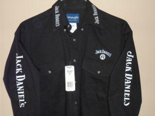 Jack Daniels Old No 7 Wrangler Black Western LS Rodeo Shirt, ALL