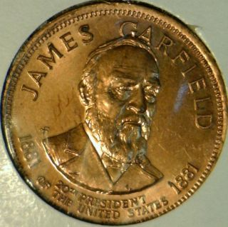 James A Garfield Franklin Mint Commemorative Bronze Medal Token Coin