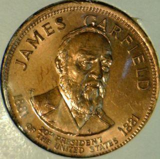 James A Garfield Franklin Mint Commemorative Bronze Medal Token Coin