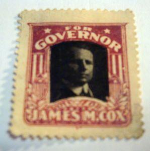 James Cox Governor Cinderella Poster Stamp Political Franklin