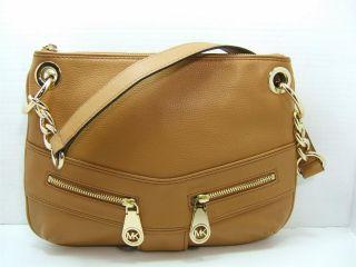 248 Michael Kors Jamesport Slim Shoulder Bag Tan Leather