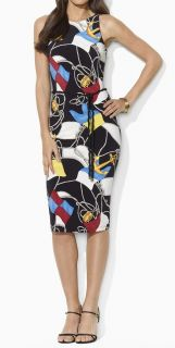 169 Lauren Ralph Lauren Rope Belt Sheath Nautical Print Dress Black
