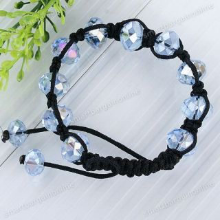 Fashion Faceted Crystal Glass Bead Disco Ball Bracelet Bangle Hip Hop