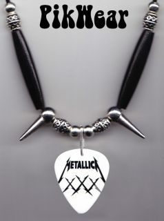 Metallica James Hetfield 30th Anniversary White Guitar Pick Necklace