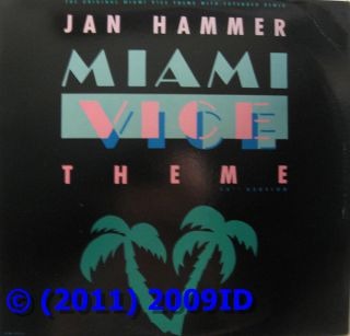Jan Hammer Miami Vice Theme Vinyl Record