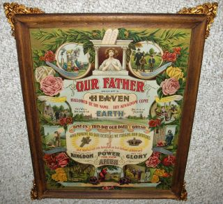 LORDS PRAYER 10 COMMANDMENTS 1911 JAMES LEE ORIG WOOD FRAME WAVY GLASS