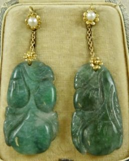 Victorian Long 18ct Yellow Gold Carved Jade Pearl Earrings