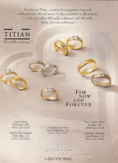 1997 A Jaffe Titian Collection Wedding Rings Print Ad