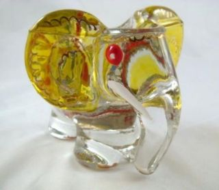 Vintage Hand Painted Enameled Art Glass Elephant Cigar Holder Made in