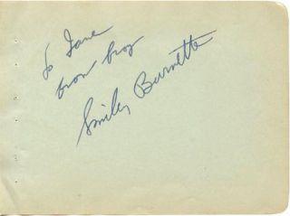 Smiley Burnette Vintage 1930s Signed Album Page Autographed Petticoat