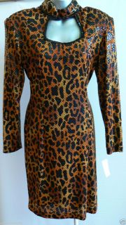 Janine Italy Wild Cat Leopard Print Evening Cocktail Dress Sz 6