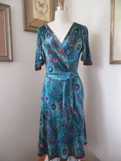 ANTHROPOLOGIE Jaloux Peacock Feathers 100 Silk Wrap Dress S 2 4 6 NWOT