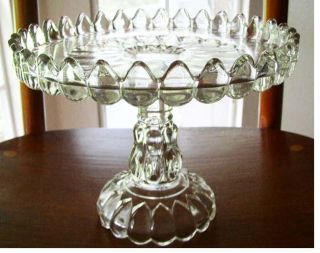 EAPG Antique Glass Pedestal Cake Stand Plate Art aka Jobs Tears