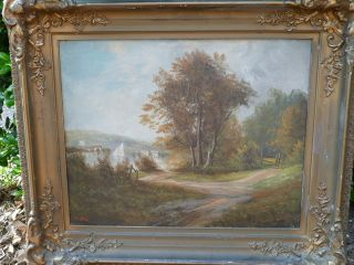 Antique Landscape Painting Charles Bale Signed Listed Superb Frame