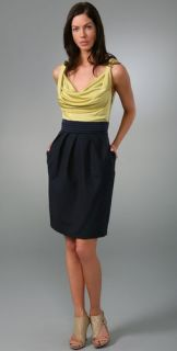 Rachel Roy Mixed Media Cowl Neck Dress
