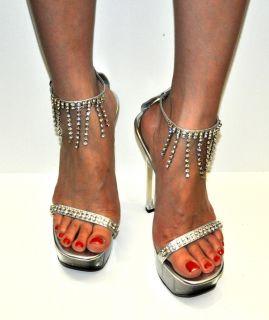 Wild Rose Silver Sexy Slingback High Heel Women Shoes 1138 Sz 7 Retail
