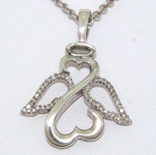Jane Seymour Sterling Silver 1 15ct Diamond Open Heart Angel Necklace
