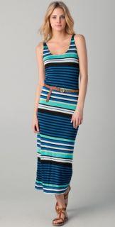 Velvet Challis Multi Stripe Maxi Dress