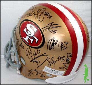 FRANCISCO 49ERS TEAM SIGNED FOOTBALL HELMET SUPER BOWL GORE DAVIS COA