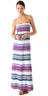 Splendid Coastal Stripe Strapless Maxi Dress