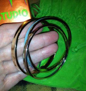 ROBERT LEE MORRIS Designer Set Of Three Bangle Bracelets, Solid 925SS