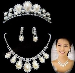 Bridal Wedding Party Jewelry Set Faux Pearl Necklace Earrings Crown