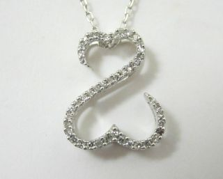 JANE SEYMOUR KAYS 14KT WHITE GOLD OPEN HEARTS DIAMOND NECKLACE 1 10ctw