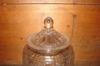 Vintage Clear Glass Sunflower Pattern Cookie Jar Dish