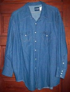 Mens WRANGLER Cowboy cut snap front blue jean Denim Shirt XXL 20 X 34