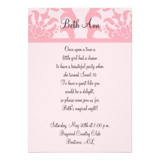 Damask and French Diamonds Sweet Party Personalized Invitations