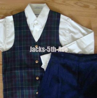Imp Boys 12 14 Holiday Plaid Vest Shirt Pants Suit Set $108 Navy Blue
