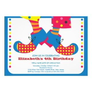 CUTE Circus Kids Birthday Party Invitation invitations by