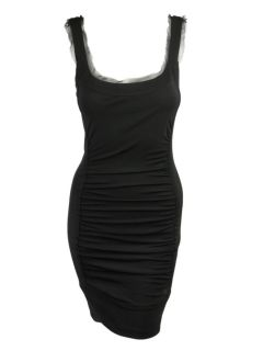 Jay Godfrey Womens Black Shire Ruched Panel Tank Dress 8 $295 New
