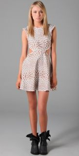 Pencey Leopard Print Denim Cutout Dress