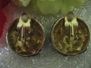 Jeff Lieb Vintage Goldtone Silvertone Black Earrings