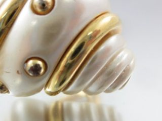 Kenneth Jay Lane Shell Gold Tone Clip on Earrings