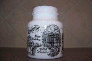 German Milk Glass Mustard Jar w Lid Black White 4 Hengensburg