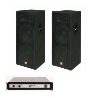 JBL JRX125 Dual 15 DJ Speakers EV Q44 II Power Amplifier Amp Package