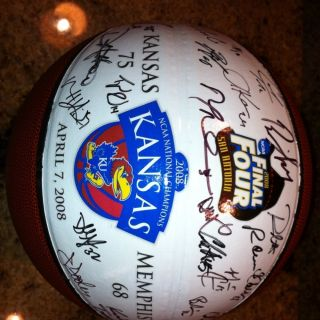 Kansas Jayhawks 2008 NCAA National Champions Signed Team Basketball
