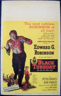 TUESDAY MOVIE POSTER orig Edward G Robinson Jean Parker Window Card