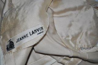 JEANNE LANVIN Vintage 1940's Silk Beaded Wedding Gown Maxi Dress