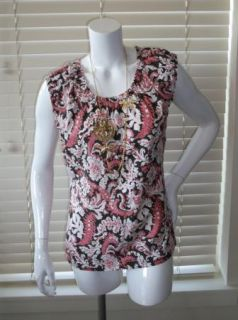 Ann Taylor Loft Brown Pink Floral Sleeveless Cotton Stretch Top Shirt