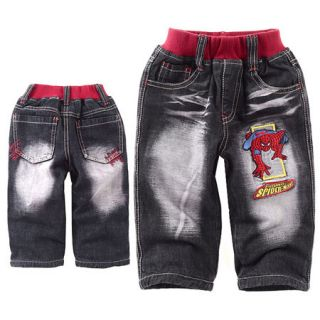 Boys Black Spider Man Fleece Pants Jeans 2 9 Years M2211A